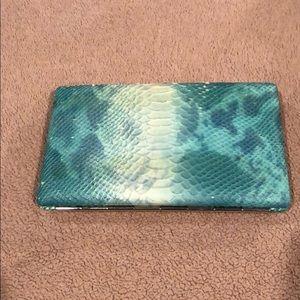Abas turquoise faux snake skin wallet